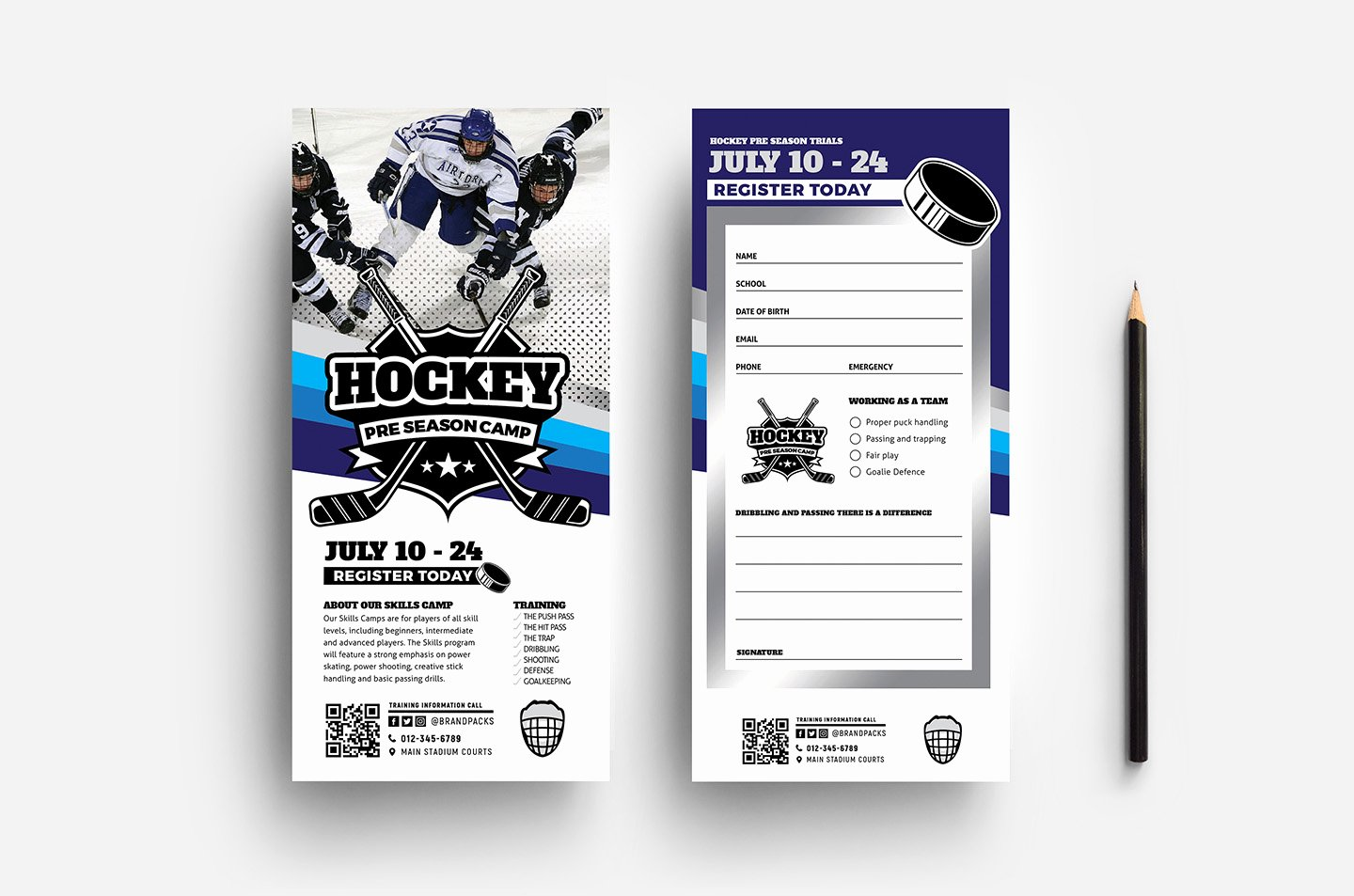 Free Rack Card Template Beautiful Hockey Club Dl Rack Card Template In Psd Ai & Vector
