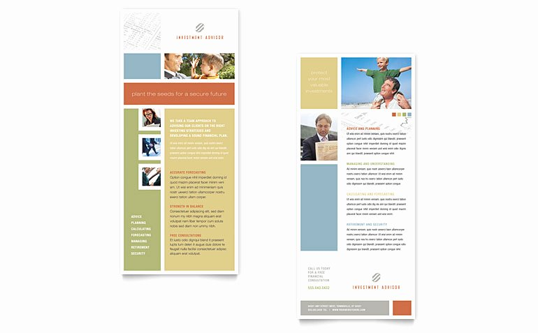 Free Rack Card Template Elegant Investment Advisor Rack Card Template Word & Publisher