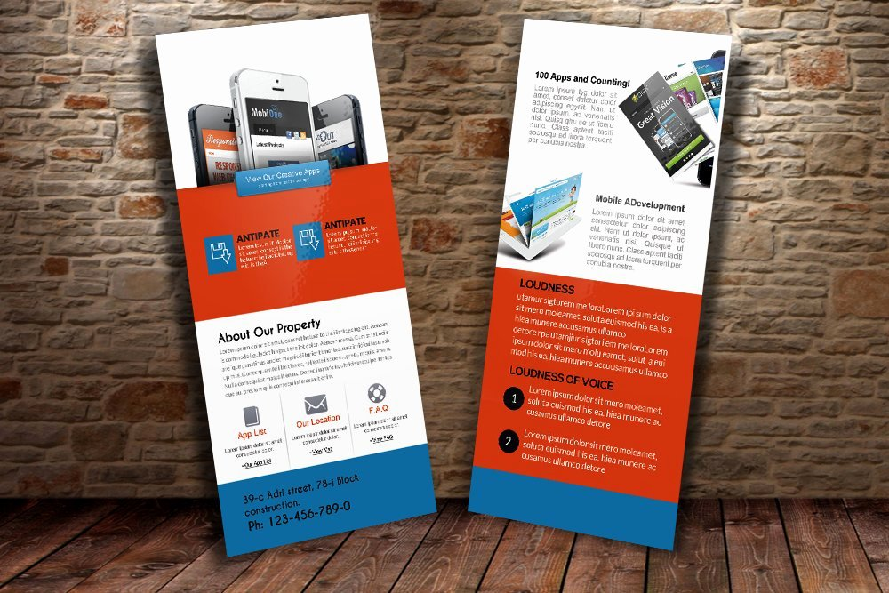 Free Rack Card Template Fresh Mobile Apps Rack Card Template Card Templates Creative
