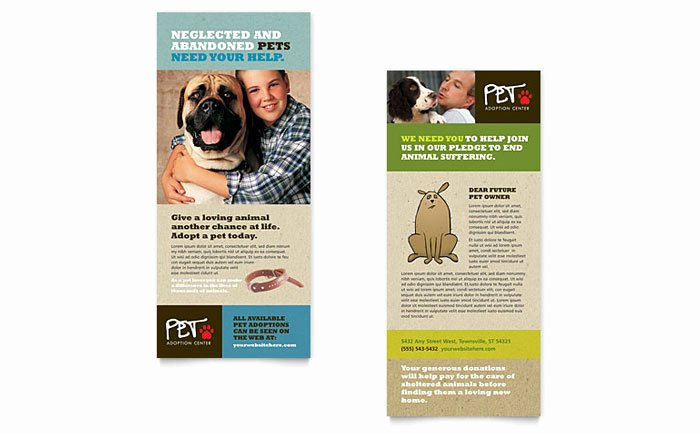 Free Rack Card Template Inspirational Animal Shelter & Pet Adoption Rack Card Template Design