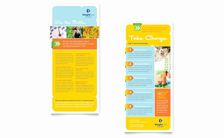 Free Rack Card Template New Weight Loss Clinic Rack Card Template Word & Publisher