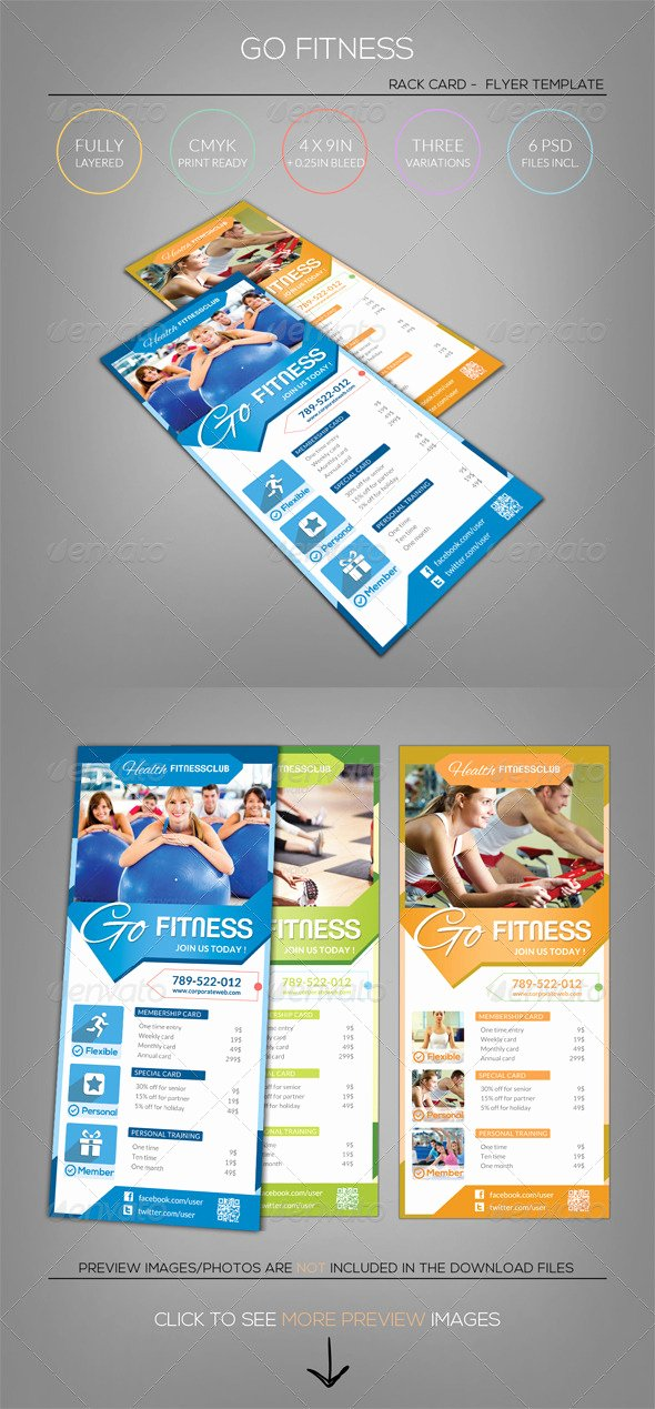 Free Rack Card Template Unique Pure Fitness Go Gym Rack Card Flyer Template by