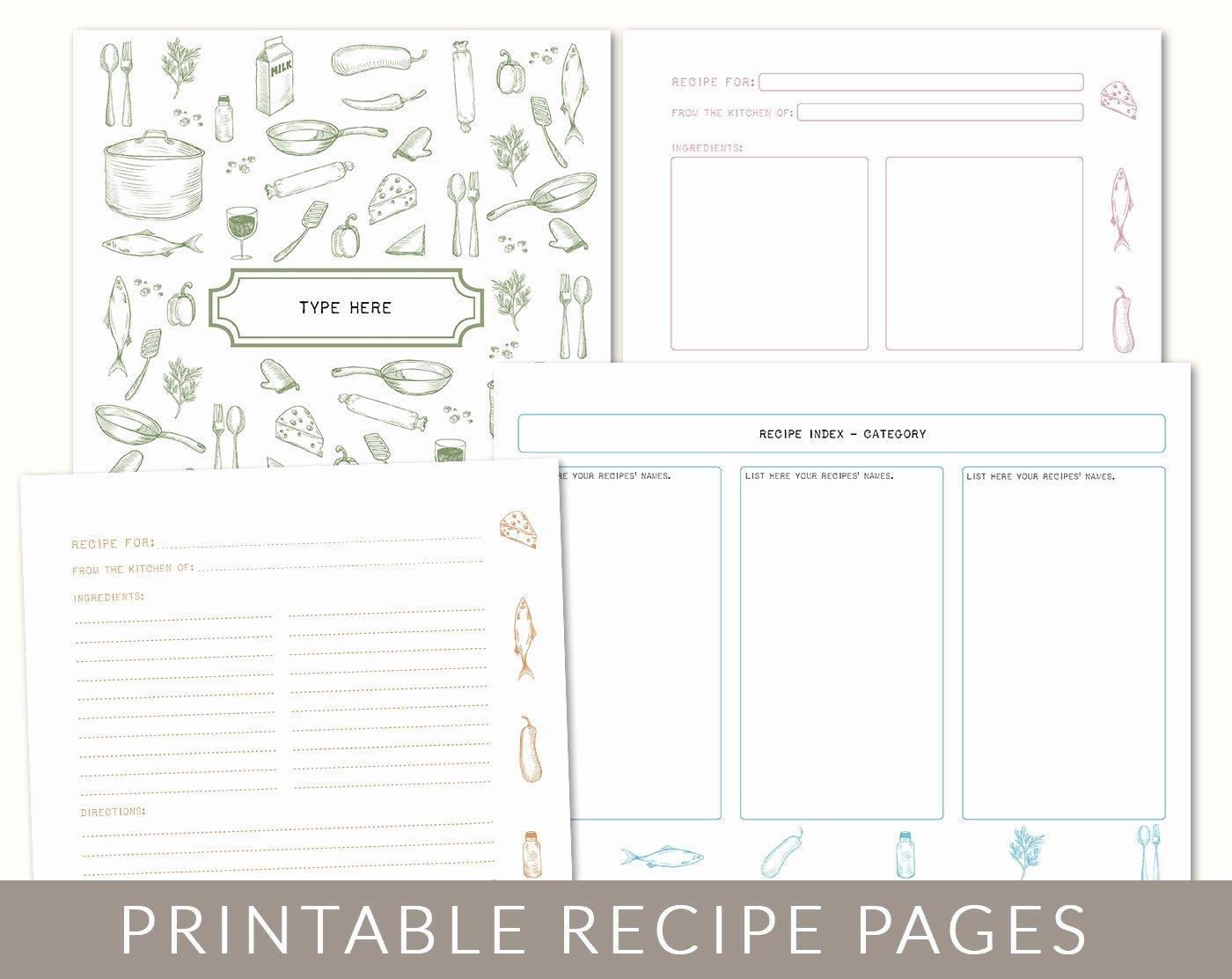 Free Recipe Book Template Unique Diy Custom Recipe Binder Cookbook Printable Pages 40
