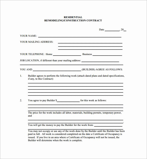 Free Remodeling Contract Template Beautiful 12 Remodeling Contract Templates Pages Docs Word