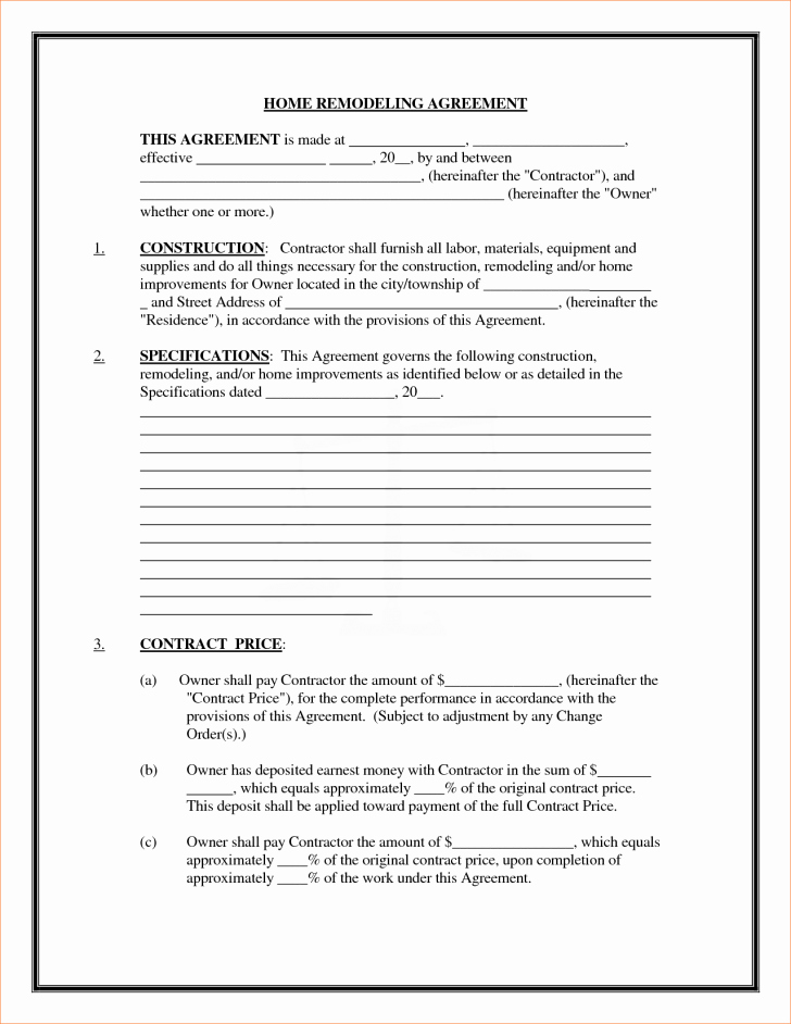Free Remodeling Contract Template Elegant Contract Remodeling Contract Template