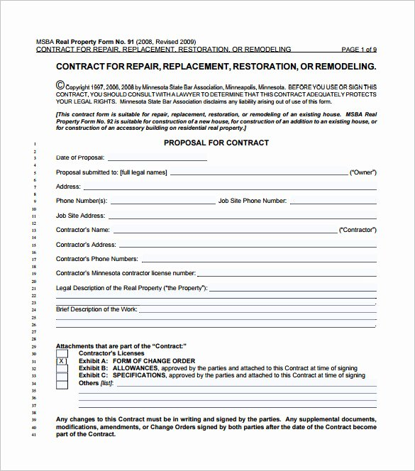 Free Remodeling Contract Template Lovely 11 Home Remodeling Contract Templates to Download for Free