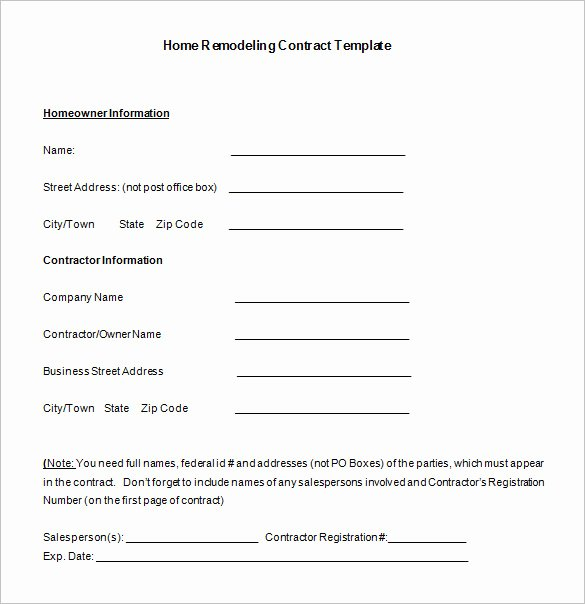 Free Remodeling Contract Template Unique 10 Home Remodeling Contract Templates Word Docs Pages