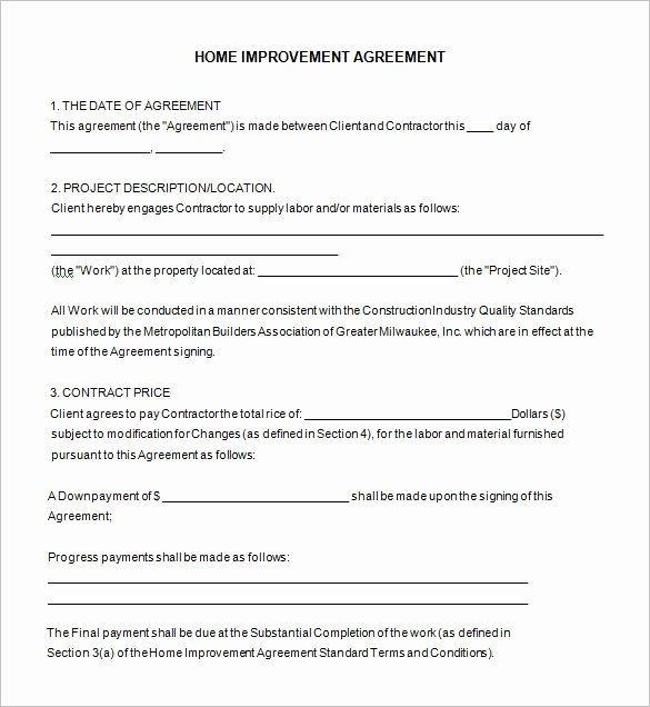 Free Remodeling Contract Template Unique Home Remodeling Con Free Contract Templates Cute Home