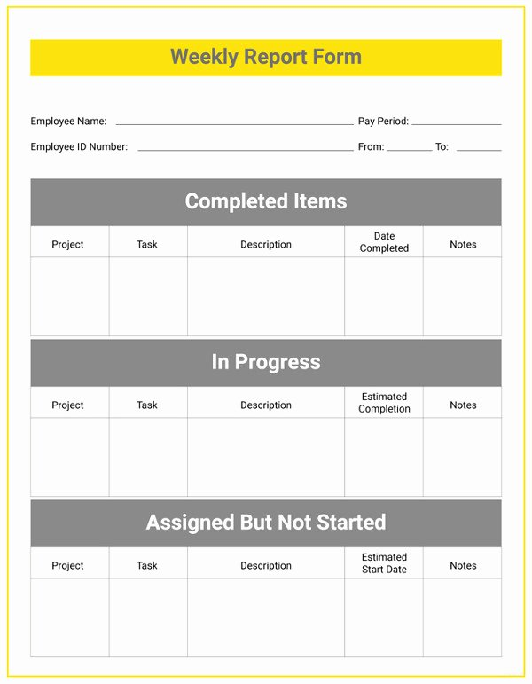 Free Report Card Template Best Of Weekly Status Report Template 24 Free Word Documents