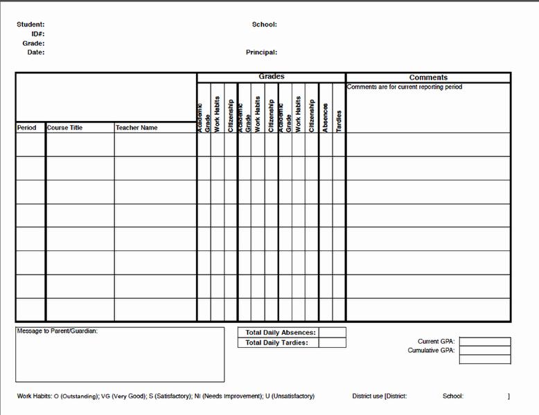 Free Report Card Template Fresh Report Cards – Illuminate Education