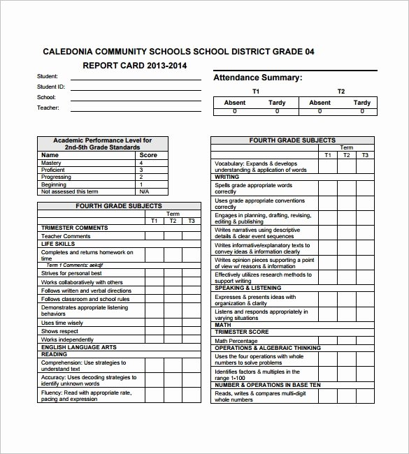 Free Report Card Template Lovely Report Card Template Pdf Invitation Template