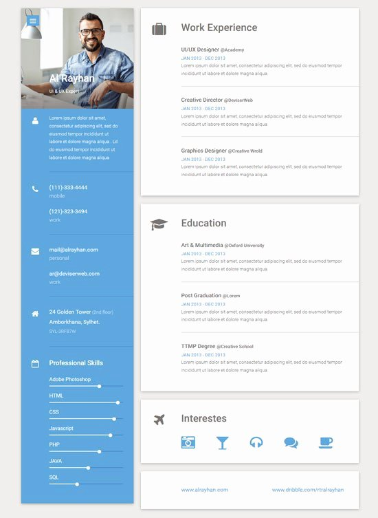 Free Resume Website Template Best Of 45 Best HTML Resume Cv Vcard Templates Free & Premium