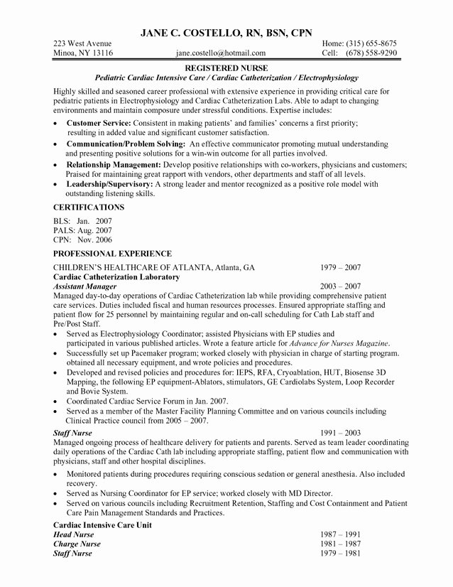 Free Rn Resume Template Awesome Best Registered Nurse Resume Example