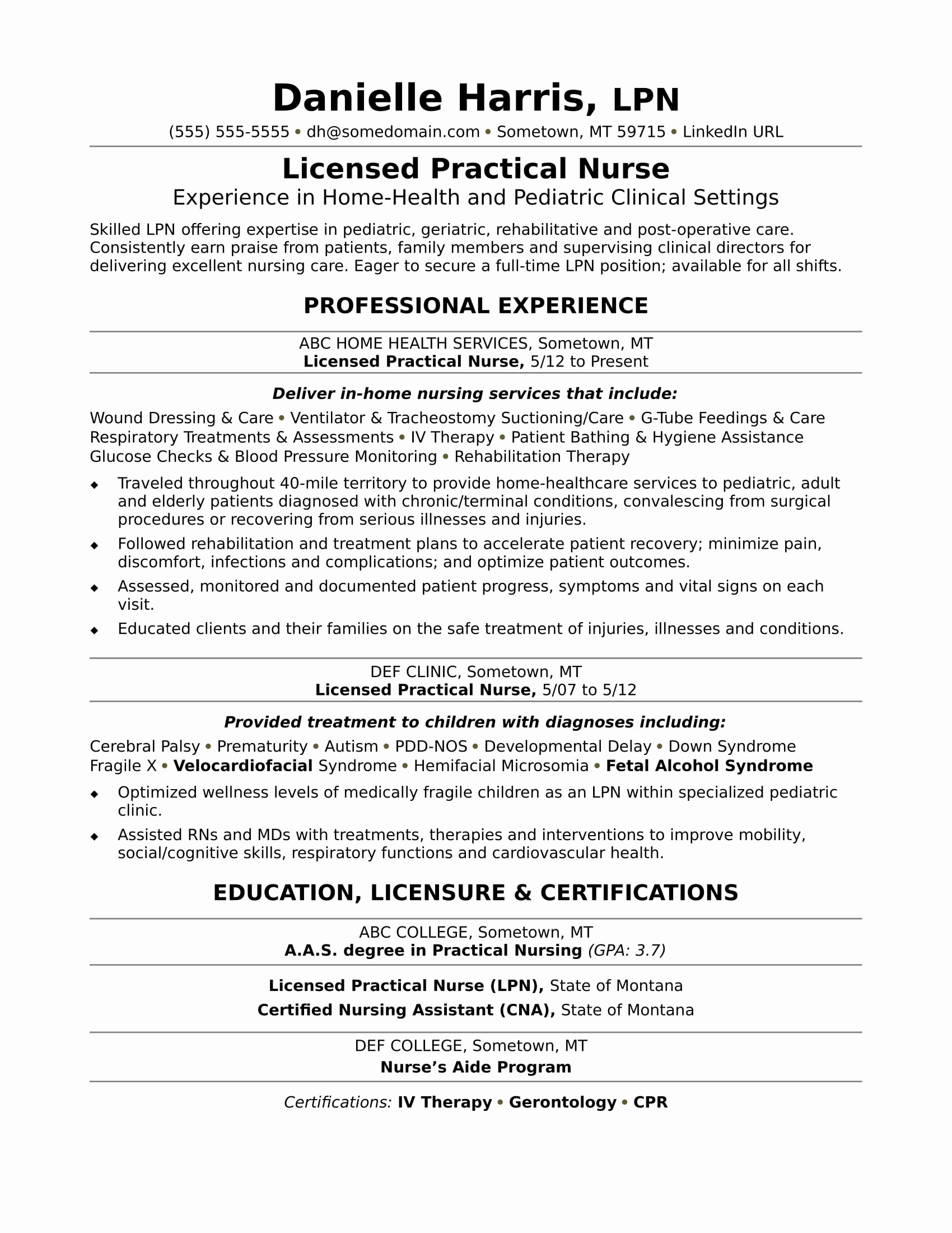 Free Rn Resume Template Awesome Licensed Practical Nurse Resume Sample
