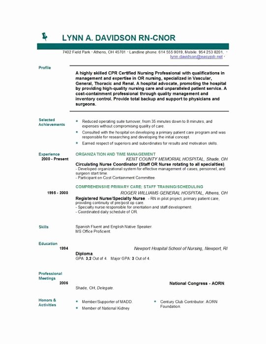 Free Rn Resume Template Awesome Nursing Resume Templates