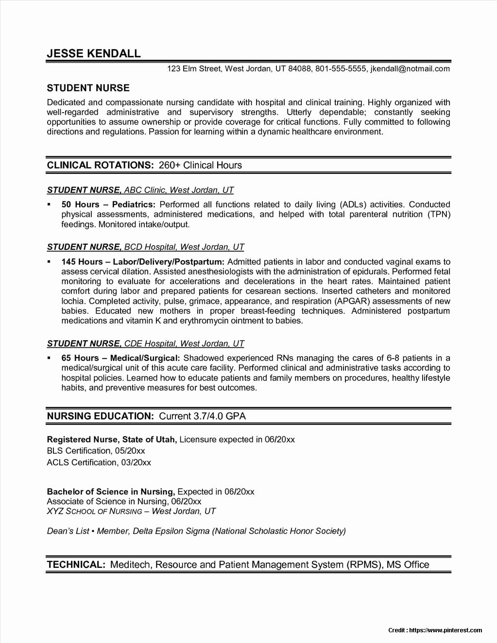 Free Rn Resume Template Fresh Free Nursing Resume Templates Download Resume Resume