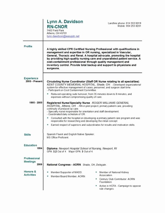 Free Rn Resume Template Fresh Nursing Resume Templates