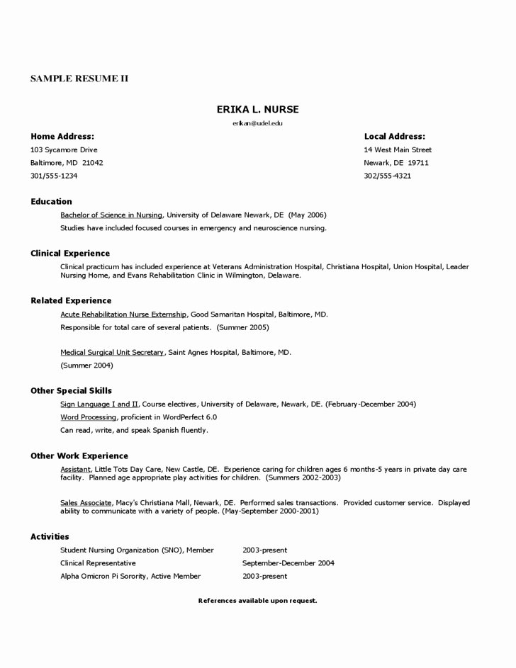 Free Rn Resume Template Luxury Free Nursing Resume Templates – Wrenflyers