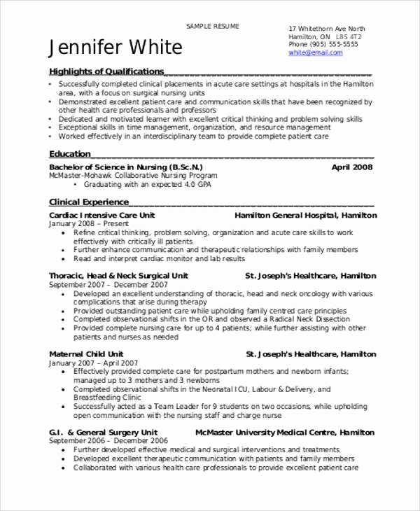 Free Rn Resume Template New 8 Sample Student Nurse Resumes