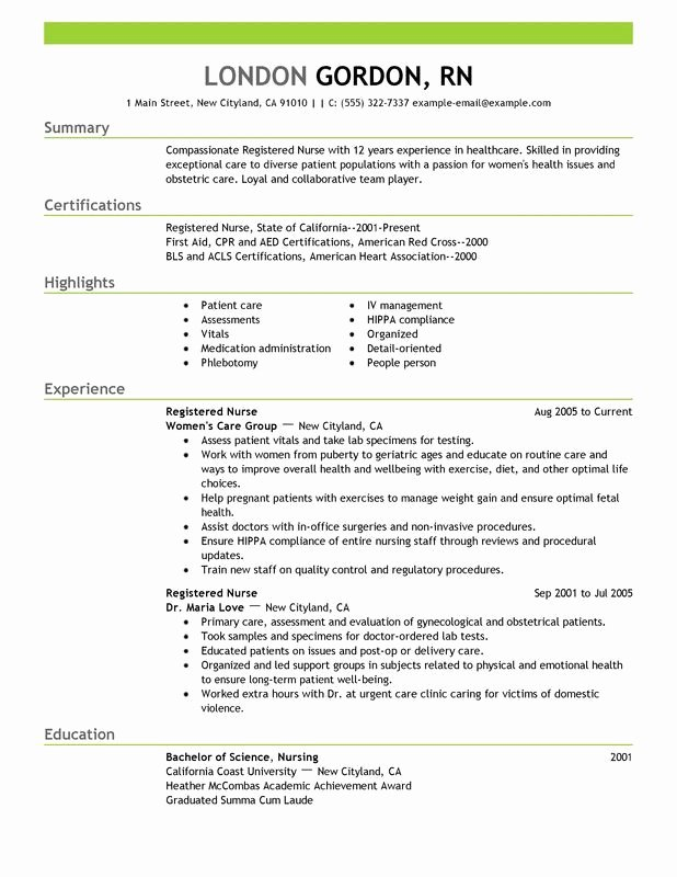 Free Rn Resume Template New Registered Nurse Resume Sample Work