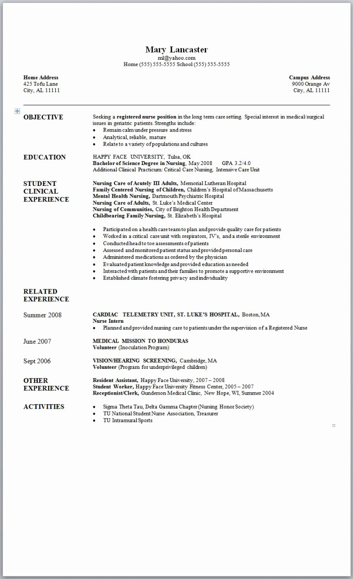 Free Rn Resume Template New Resume and Template Free Nursing Resume Samples Free