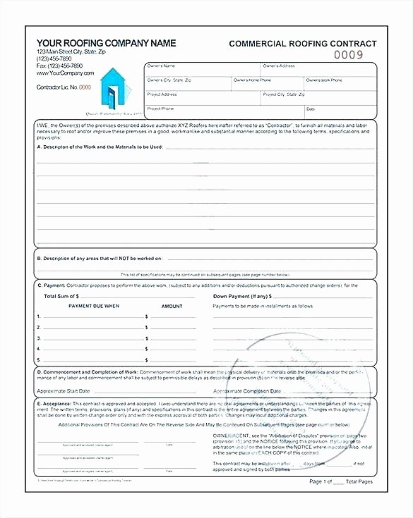 Free Roofing Contract Template Inspirational Sample Roofing Contract Download by