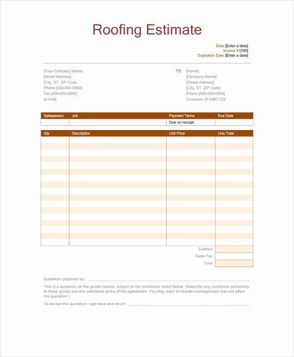 Free Roofing Estimate Template Beautiful 12 Roofing Estimate Templates Pdf Doc
