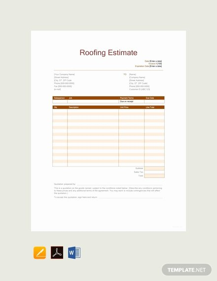 Free Roofing Estimate Template Beautiful Free Job Estimate Template Download 239 Sheets In Word