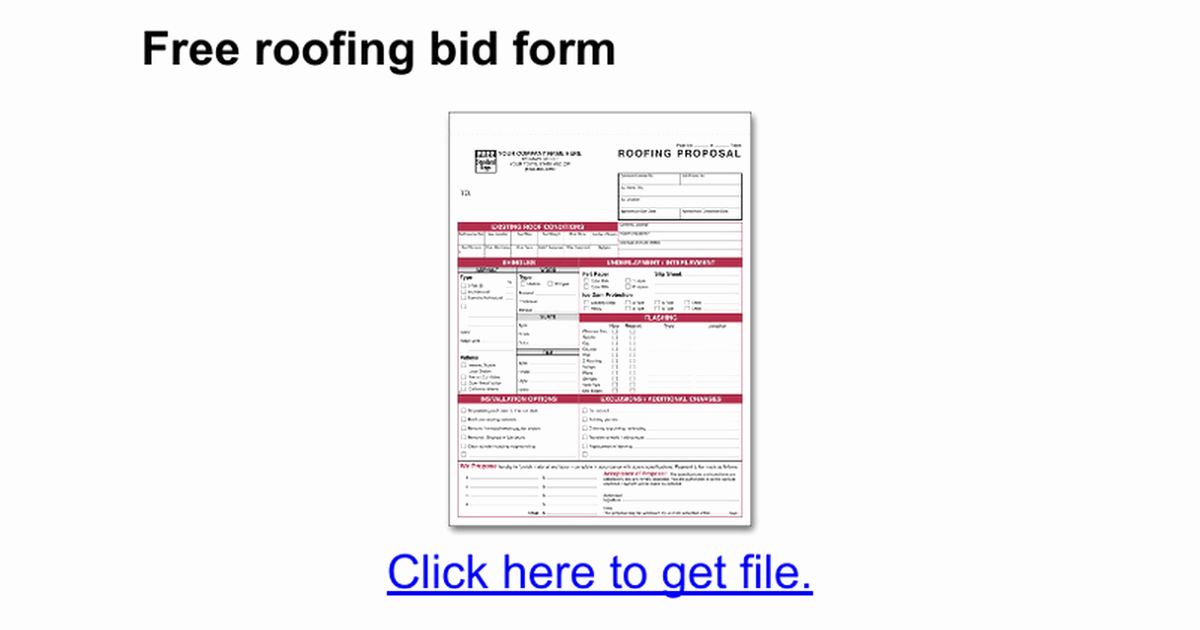 Free Roofing Estimate Template Fresh Free Roofing Bid form Google Docs