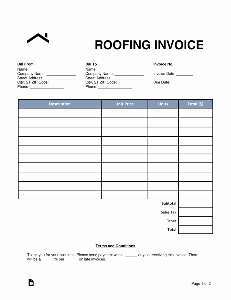 Free Roofing Estimate Template Inspirational Free Roofing Invoice Template Word Pdf