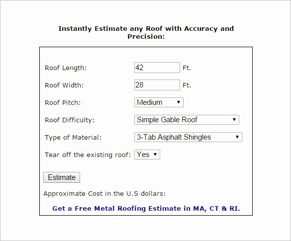 Free Roofing Estimate Template Luxury 12 Roofing Estimate Templates Pdf Doc