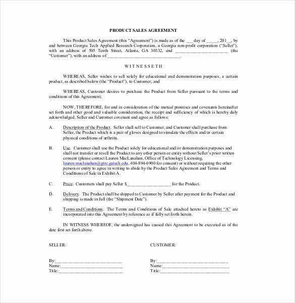 Free Sales Agreement Template Elegant 10 Free Sales Contract Templates