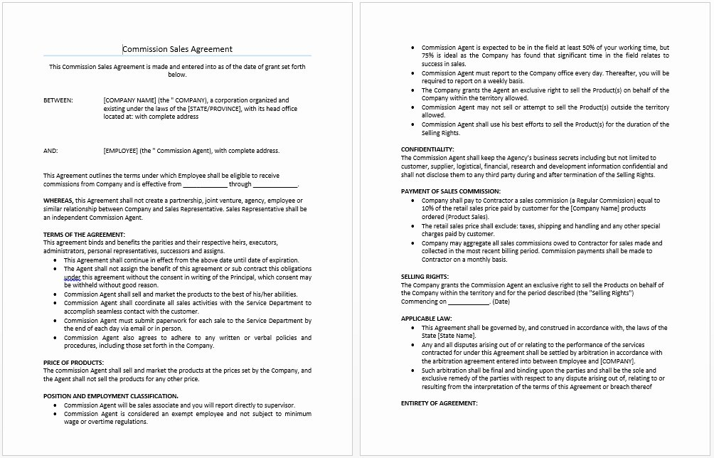 Free Sales Agreement Template Inspirational Mission Sales Agreement Template Templates Resume