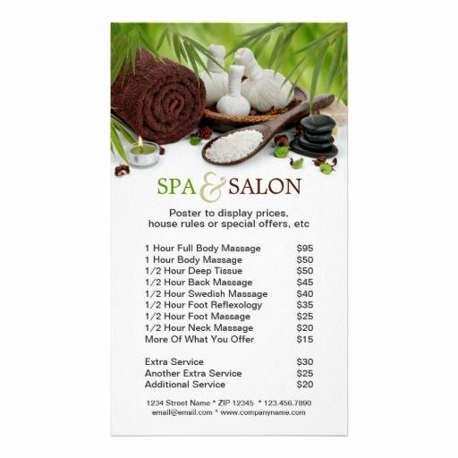 Free Salon Menu Template Elegant Spa Massage Salon Menu Services Poster