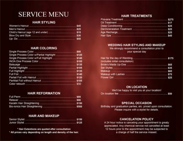 Free Salon Menu Template Inspirational 5 Price List Templates formats Examples In Word Excel