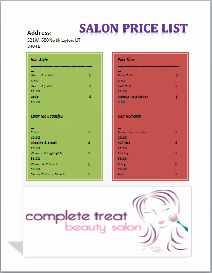 Free Salon Menu Template Lovely Salon Menu Price List Template Microsoft Fice Templates