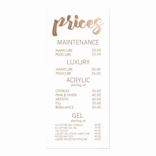 Free Salon Menu Template Luxury Bronze Salon Retail Menu Price List Template Cards