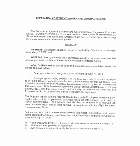 Free Separation Agreement Template Awesome 16 Separation Agreement Templates Free Sample Example