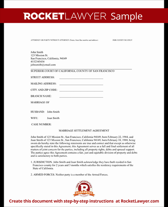 Free Separation Agreement Template Awesome Divorce Settlement Agreement Template with Sample