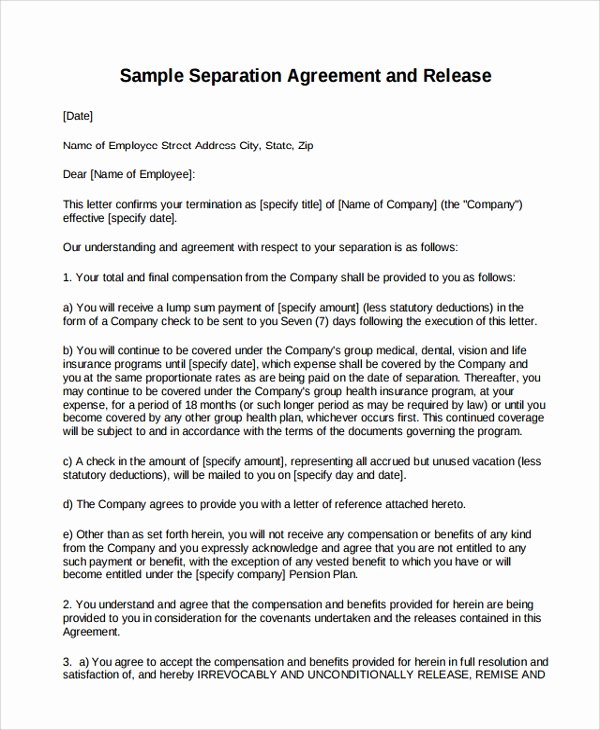 Free Separation Agreement Template Best Of 9 Business Separation Agreement Templates