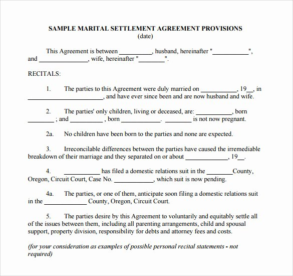Free Separation Agreement Template Fresh 7 Sample Separation Agreements