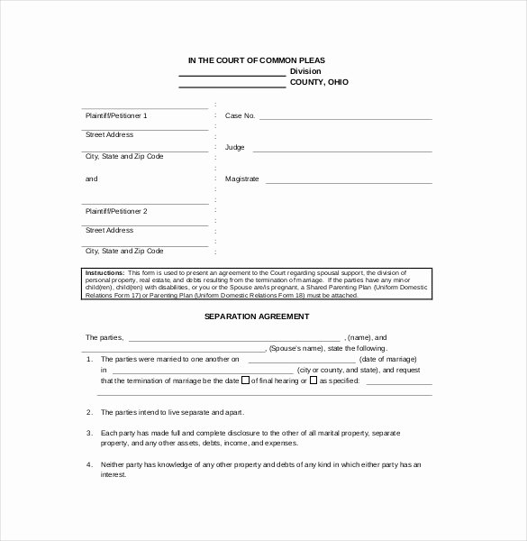 Free Separation Agreement Template Fresh Separation Agreement Template