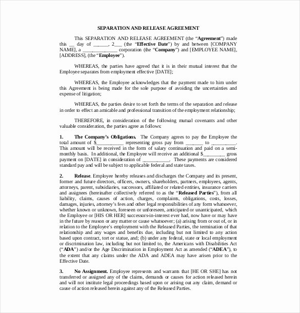 Free Separation Agreement Template Inspirational 16 Separation Agreement Templates Free Sample Example