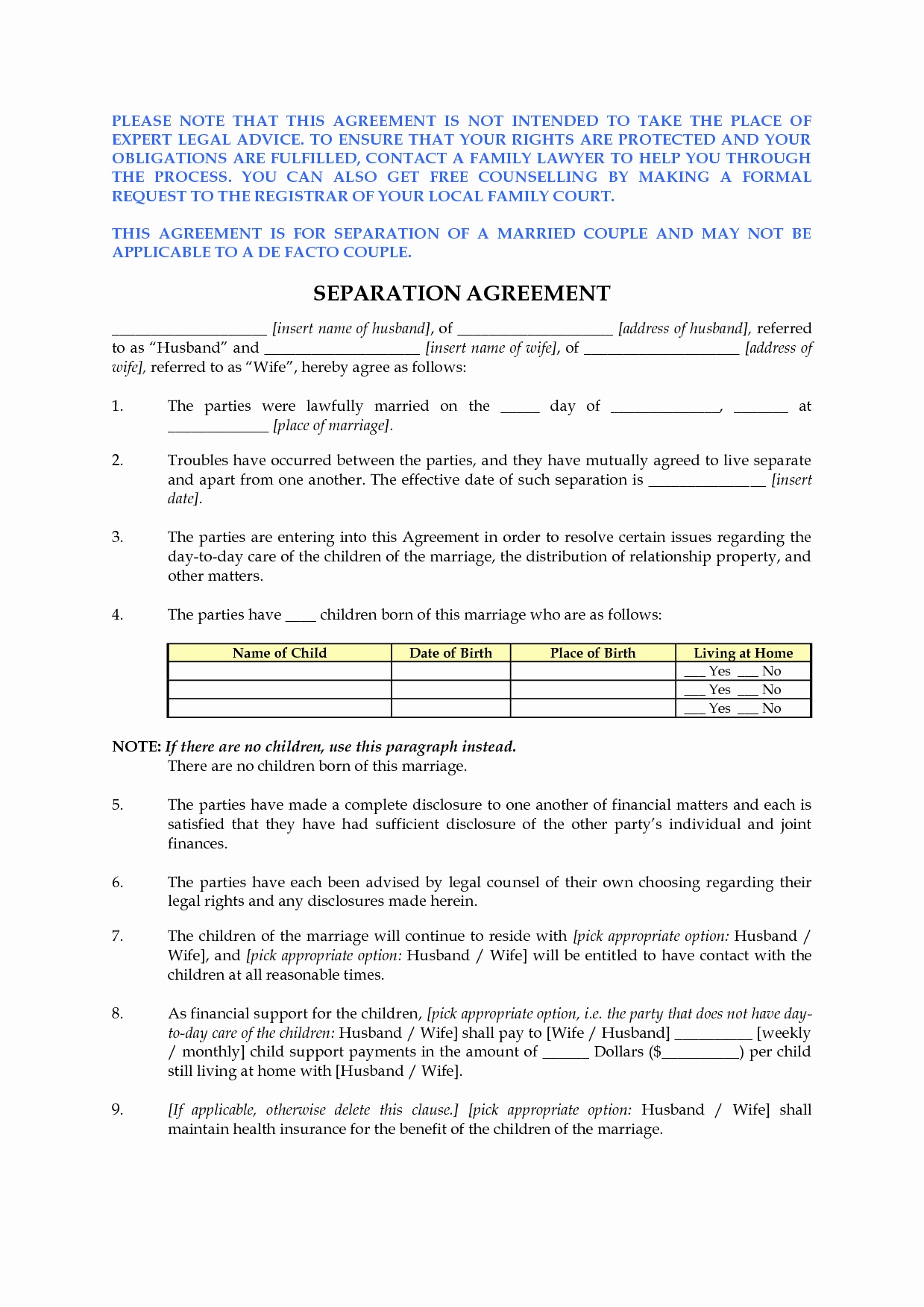Free Separation Agreement Template New Best S Of Free Marital Separation Agreement forms