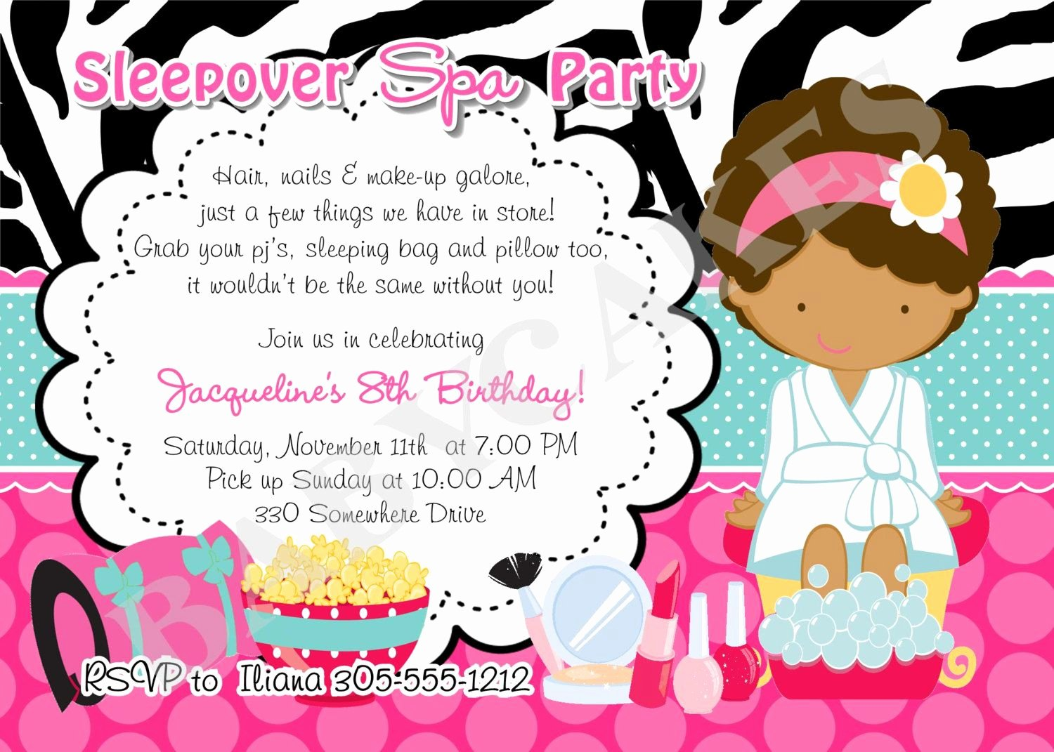 Free Sleepover Invitation Template Awesome Spa Sleepover Birthday Invitation Invite Sleepover Spa
