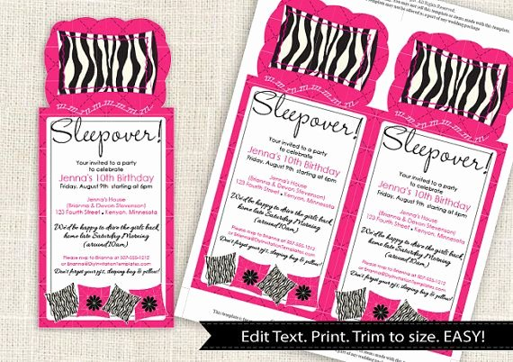 Free Sleepover Invitation Template Awesome Zebra Sleepover Party Invitation Template Download
