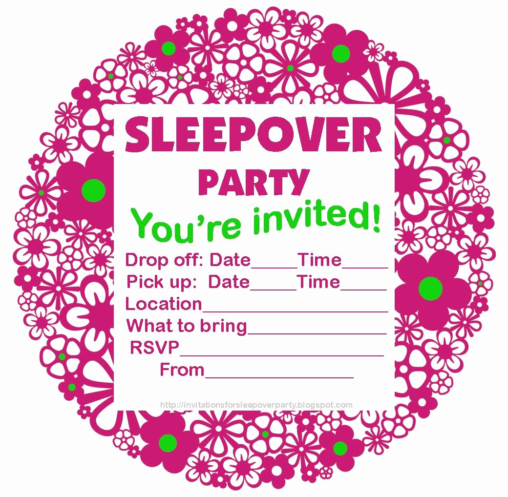 Free Sleepover Invitation Template Fresh Free Printable Sleepover Party Invitations Hundreds Of
