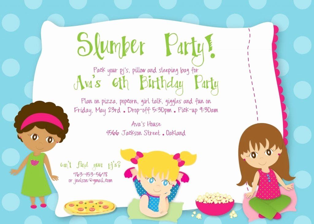 Free Sleepover Invitation Template Inspirational Birthday Party Sleepover Invitations