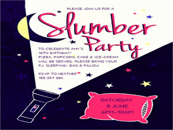 Free Sleepover Invitation Template Luxury 16 Slumber Party Invitation Designs & Templates Psd Ai