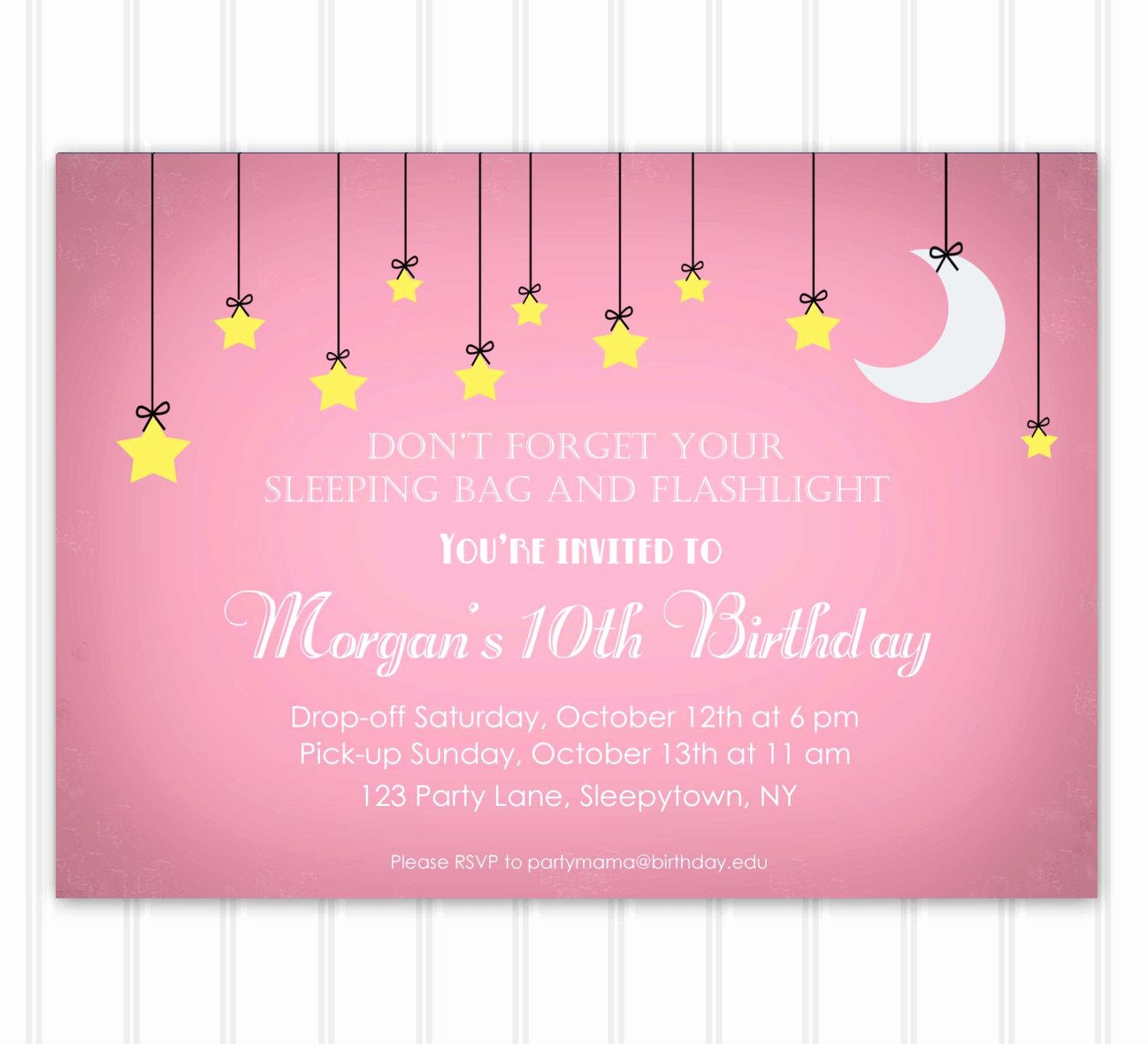Free Sleepover Invitation Template Unique Slumber Party Invitations